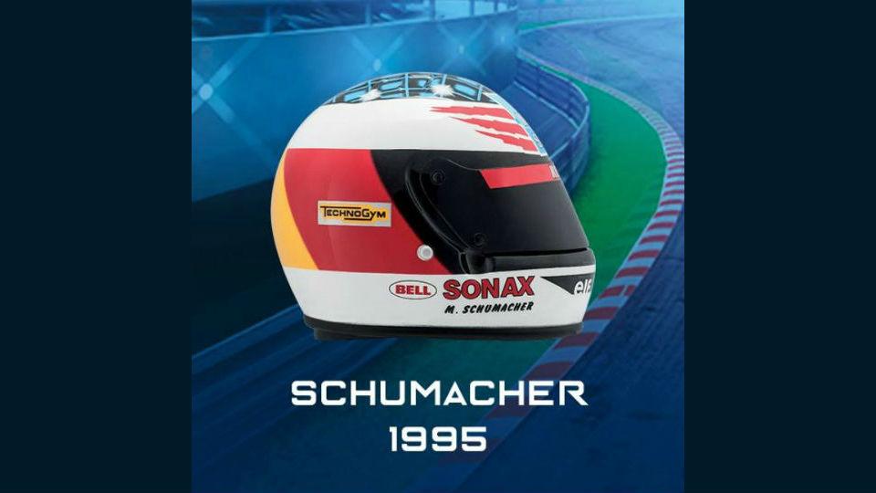 caschi schumacher 1995 in edicola